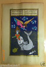 HAND PAINTED  TURKISH PAINTING : jonah and the whale
