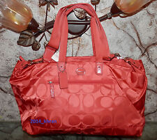 NWT COACH F77469 Getaway Signature Hot Orange Nylon Travel Gym Duffle Bag Tote