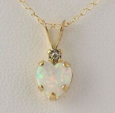NEW Synthetic Opal Heart & Diamond Pendant Necklace - 10k Yellow Gold Chain 18""