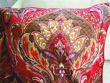 RAYMOND WAITES PILLOW SHAM BURGUNDY RED standard PAISLEY COLORFUL ARTSY EUC L16