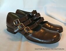 Cute Vintage 40's 50's Reddish Brown Triple Strap Mary Jane Shoes Approx Size 7