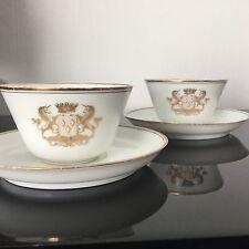 2 Tasses Couronne Baron Armoiries Cherade de Montbron Porcelaine Dommartin Lot 2