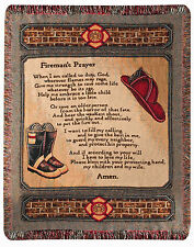 "THROWS - "" A FIREMANS PRAYER"" TAPESTRY THROW BLANKET - FIREFIGHTERS - FIREMEN"