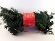6 Foot Green Pine Cedar Twigs Red Berries Garland Christmas Decoration