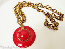 Vintage Avant Garde 1970's Disc Red Chunky chain Statement Necklace Long Pendant