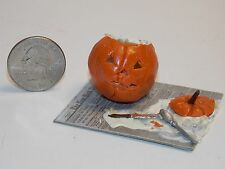 Dollhouse Miniature Halloween Pumpkin Carving Scene C 1:12 one inch scale F12