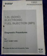 1991 DODGE COLT EAGLE SUMMIT 1.5L SOHC POWERTRAIN DIAGNOSTIC PROCEDURES MANUAL