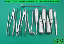 12 PCS BASIC ORAL DENTAL SURGERY EXTRACTING EXTRACTION FORCEPS INSTRUMENTS KIT