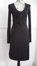 STUNNING FITTED BLACK LONG SLEEVE ARMANI JERSEY DRESS SIZE S EXCELLENT CONDITION