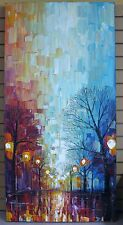 Park Lights Oil Painting Heavy Palette Knife Texture by Paula Nizamas 2012 4'X2'