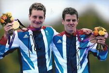 alistair john brownlee holding their medals london 2012 signed 12x8 photo