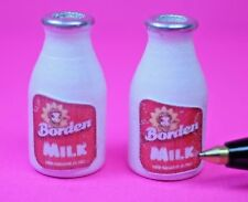Dollhouse Miniature 2 BOTTLES OF WHITE WHOLE MILK, (Elsie the Cow)  G700
