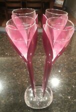 Moet & Chandon Tulip Champagne Flutes Glass Pink Rose Etched Base SET OF FOUR