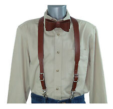 2 Piece Set: Brown Leather Suspenders w/Trigger Snaps and Brown Leather Bow Tie