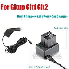 Dual Slot Battery Charger+Car Charger+2X950 Battery for Gitup Git1 Git2 Camera