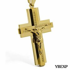"20-36"" MENS Stainless Steel Gold Black Silver Jesus Cross Pendant Necklace Chain"