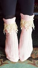 Victorian Trading Co Lavish Lace Ankle Socks Pink/Ivory Free Ship NIB