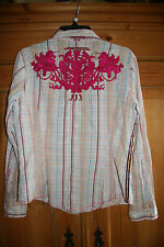 3J Workshop Unicorns Cowgirl Embroidered Blouse Chic Western BOHO Top M