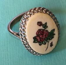 Vintage 1950'S Sterling Silver Carved Hand painted Rose Celluloid Ring