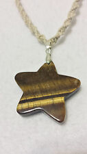 Natural Hemp Necklace Gemstone Tigers Eye Star Pendant Surfer Boho Hippie ooak