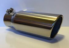 """3.5"""" IN x 4.5'' OUTLET x 12""""L ROLLED ANGLE POLISHED STAINLESS DIESEL EXHAUST TIP"""