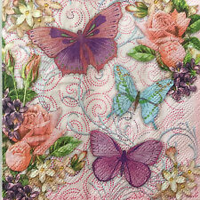 4 Paper Napkins Decoupage Butterflies Floral Pink Beverage Craft Punch