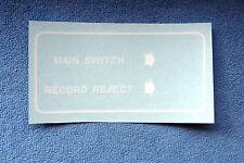 Seeburg Vinyl Transfer for Back of Cabinet- White