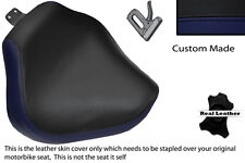 NAVY BLUE & BLACK CUSTOM FITS YAMAHA XVS 1100 DRAGSTAR FRONT LTHR SEAT COVER