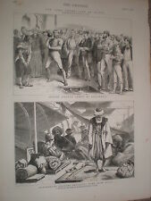 British army athletics shot put at Aelexandria Egypt 1876 print ref V