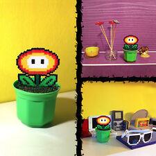 """8 bit Plant Decoration: Super Mario Fire Flower + Plant Pot Pixel Art Beads 5.5"""""""