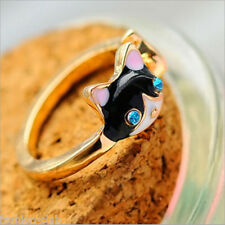 Fangle Women Cat Eyes Black Enamel Crystal Rhinestone Finger Ring Jewelry Gift