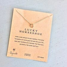 "NECKLACE PENDANT  GOOD LUCK HORSESHOE CHARM 16 "" GOLD BIRTHDAY GIFTS MUM"