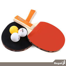 REGAIL Table Tennis Ping Pong Racket Set  -  2 Rackets + 3 Balls / A508