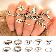 Punk Vintage Knuckle Women's Rings Tribal Ethnic Hippie Stone Joint Ring Set F9