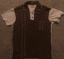 Vintage 50s RARE Rockabilly Greaser Mod Penny's Brown Gray Polo Shirt Sz S