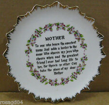 """Bradley 7"""" Mother Decorative Plate With Poem In Middle - Made In Japan! Gold Rim"""
