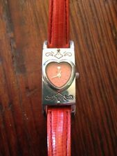 Brighton Santa Paula Watch Women's Silver Tone Heart Case Red Leather Strap