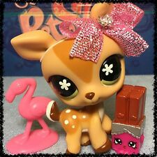 Littlest Pet Shop LPS #634 Tan Brown Spotted Deer w/ Flower Eyes SHOPKINS