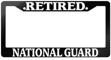 Glossy Black License Plate Frame RETIRED NATIONAL GUARD Auto Accessory