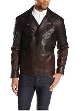 $695 NEW Boston Harbour Mens Large Lambskin Leather Ombre Expresso Moto Jacket