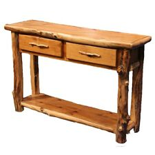 Log Sofa Table - Country Western Cabin Rustic Wood Living Room Decor