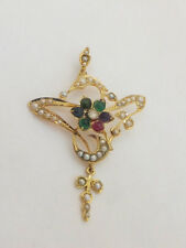 15ct/ 15k gold gem set Victorian Art Nouveau DEAREST pendant, 625