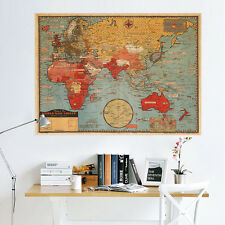 Removable Retro World Map Wall Poster Living Room Bedroom Decor Wall Poster