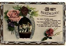 Kitty Cats in Good Luck Horseshoe-Roses-21st Birthday Greeting Vintage Postcard