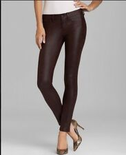 NWT $192 SOLD DESIGN LAB SOHO SUPER SKINNY COATED SUEDE JEANS PANTS BROWN 24