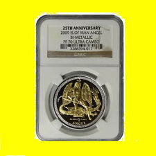 2009  Isle of Man Angel BiMetallic1 OZ GOLD +SILVER NGC PF70 Ultra Cameo 500 MNT