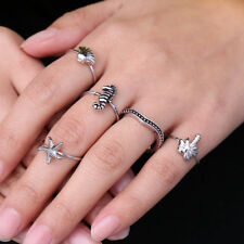 Newest 5 Pcs/set Vintage Tibetan Silver Ocean Animals Starfish Hippocampus Rings