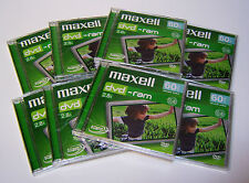 8 Maxell DVD-ram Blank Rewritable 8cm Camcorder  Discs 60min 2.4GB Double sided