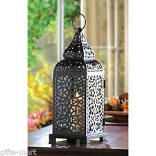 "black Moroccan 13"" tall Candle holder Lantern Lamp light outdoor terrace patio"