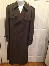 Vintage Men's Christian Dior Long Trench Coat Double Breasted Size 38R Olive